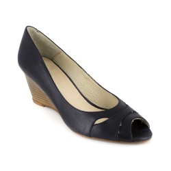 Peep-toe Stiletto J.Bradford Navy Blue Leather JB-ANA