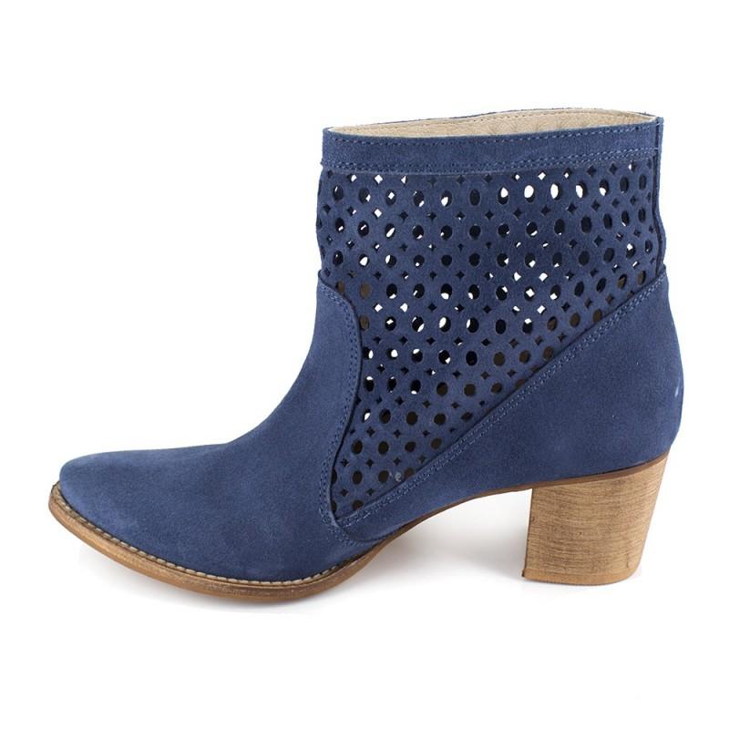 J.bradford Bottine  Cuir  JB-ALTEA Bleu - Livraison Gratuite avec  - Chaussures Bottine Femme