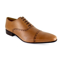 J.BRADFORD Man Camel Leather Shoes Richelieu  JB-DARIUM